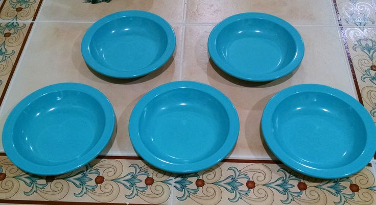 Turquoise Melamine Bowls - Dallas Ware B-75 - Soup Salad Cereal Bowls - Set of 5 - Vintage Retro Plastic Dinnerware by ClassyVintageGlass on Etsy