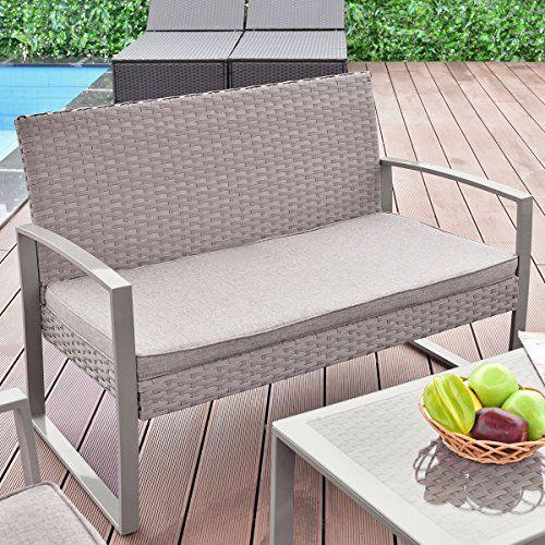 Tangkula 4pc Patio Furniture Set Outdoor Wicker Rattan Garden Lawn
