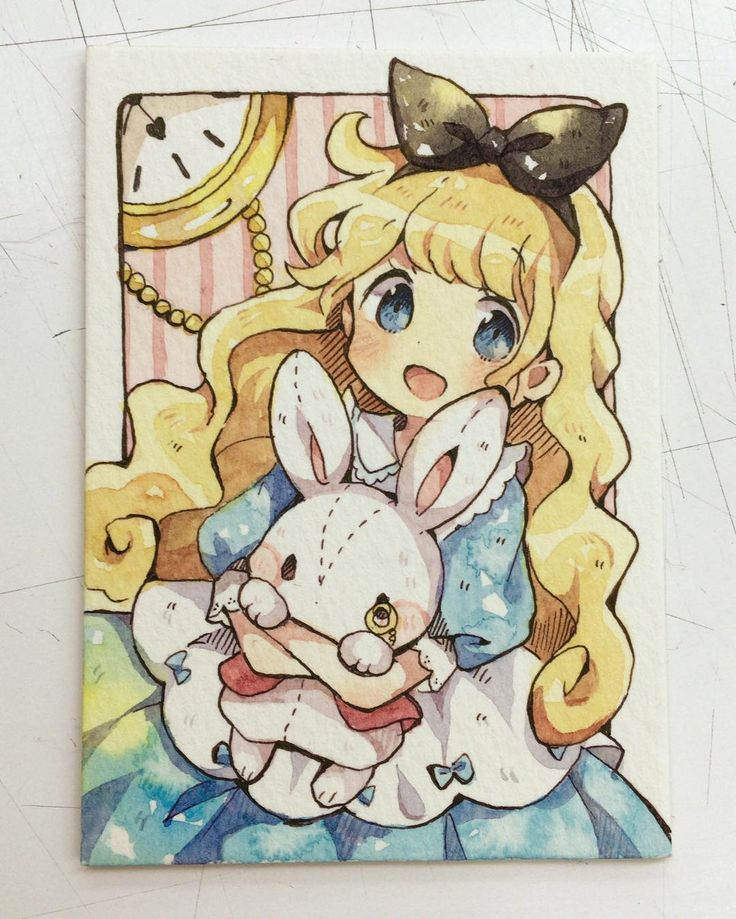 Alice and the white rabbit ATC in an anime style