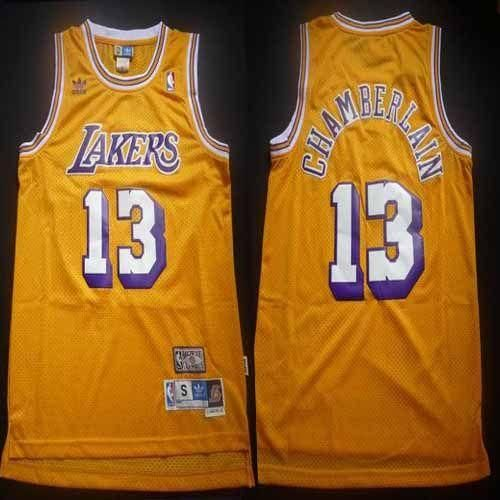 Lakers 13 Wilt Chamberlain Yellow Throwback Stitched Nba Jersey Jersey Los Angeles Lakers Basketball Nba Los Angeles