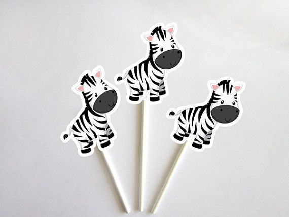 This listing is for (12) zebra Cupcake Toppers. These cute cupcake toppers would be perfect for a zebra birthday party, zebra baby shower or any jungle