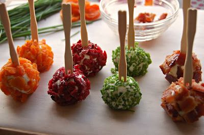Colorful goat cheese appetizer - maybe do this instead of a large cheeseball for a large group of people?