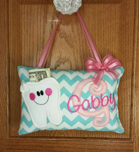 Personalized Tooth Fairy Pillow for Girl aqua and by FabuMimi