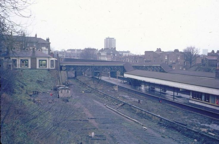 The abandoned sidings at St Johns Train Station near Lewisham South East London England in 1971