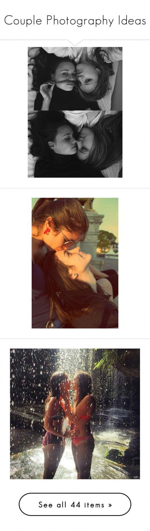 """""""Couple Photography Ideas"""" by mazzyfaye ? liked on Polyvore featuring couple Lesbian couples pictures sets b&w backgrounds girls love and people #matt…"""