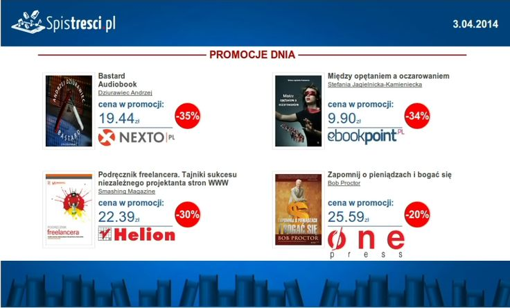 ⇨ http://sptr.pl/1n7ajLl ⇨ http://sptr.pl/1lo8riF ⇨ http://sptr.pl/1h4ujQP ⇨ http://sptr.pl/1lCHA54 #ebook #promocjednia #promocje #ebooki