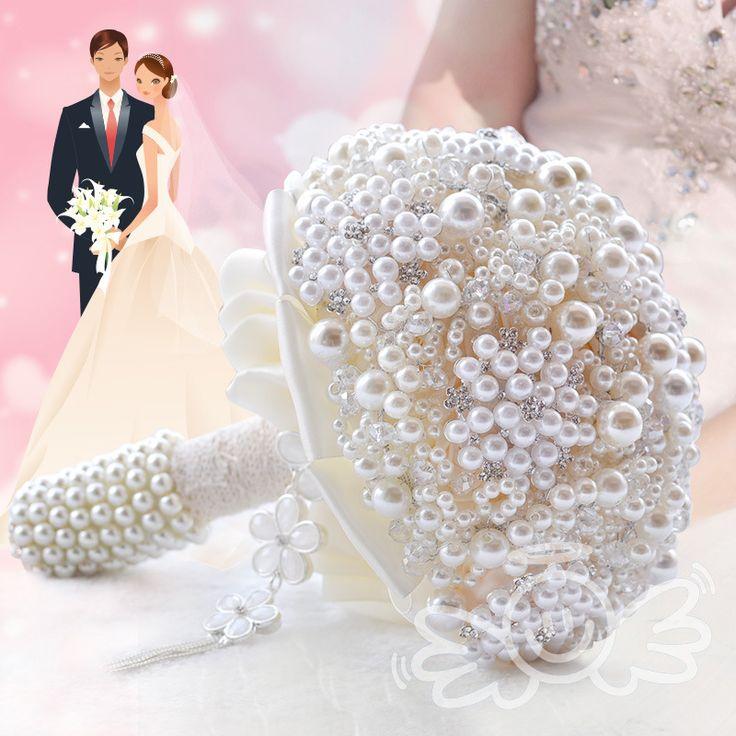 2016 Элегантный жемчужина невесты свадебный букет с хрустальный Цветок из бисера украшения Свадебный букет невесты невесты свадебные аксессуары(China (Mainland))
