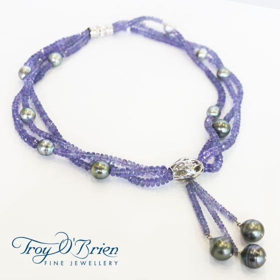 Dusk on the Rocks! White gold, Diamond, Tanzanite and Tahitian pearls. A piece for the adventurous and romantic souls