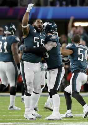 Eagles defensive end Brandon Graham (55) celebrates after causing a fumble by New England Patriots quarterback Tom Brady during the fourth quarter of the Super Bowl.