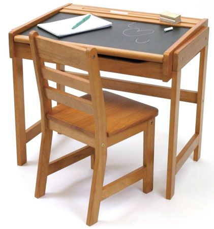 4. Lipper International 554P Child's Chalkboard Desk and Chair Set, Pecan