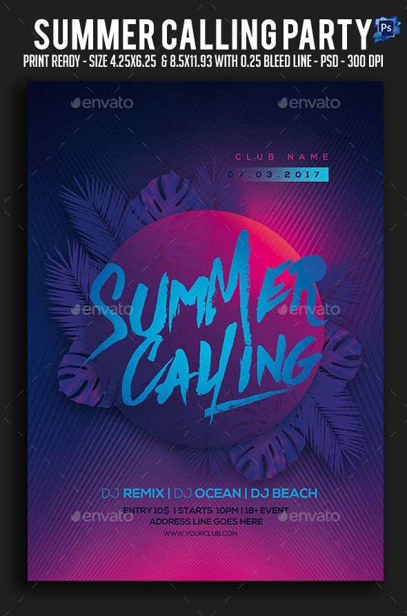 summer calling party flyer birthday artistic download httpsgraphicriver