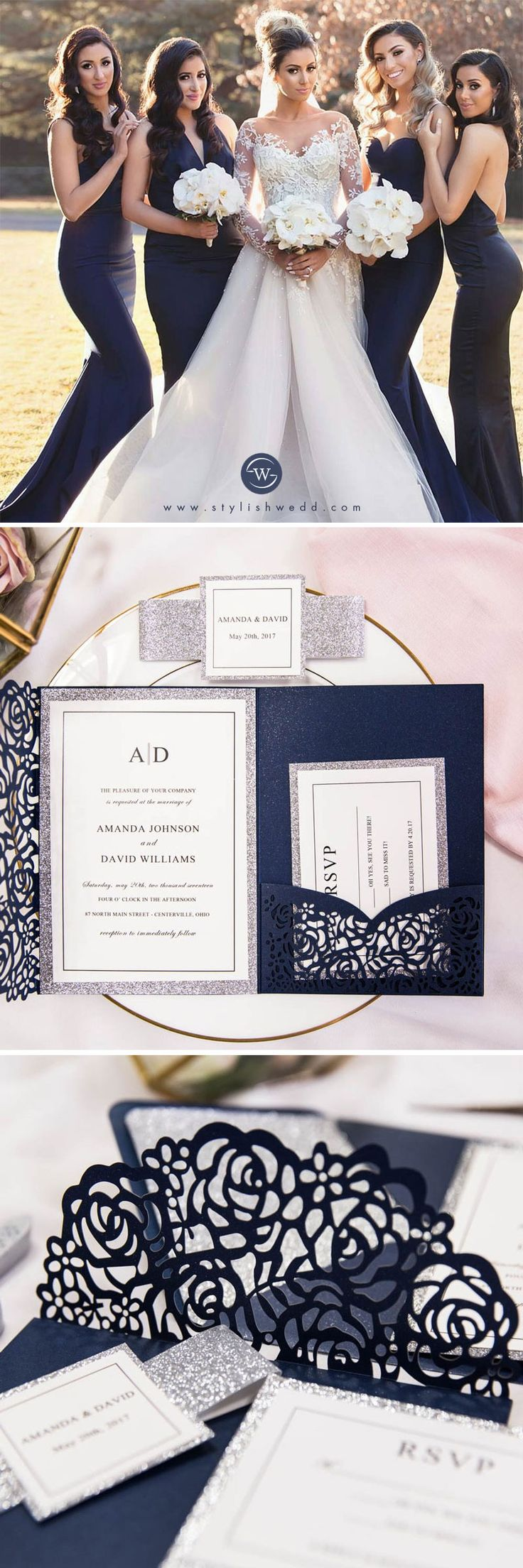 Luxury Navy Blue And Silver Glitter Rose Laser Cut Pocket Wedding Invitations With Glitter Belly Band And Tag SWWS068