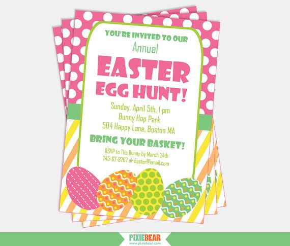 Easter Invitation - Easter Egg Hunt Invitation by PixieBearParty on Etsy #easterparty #invitation