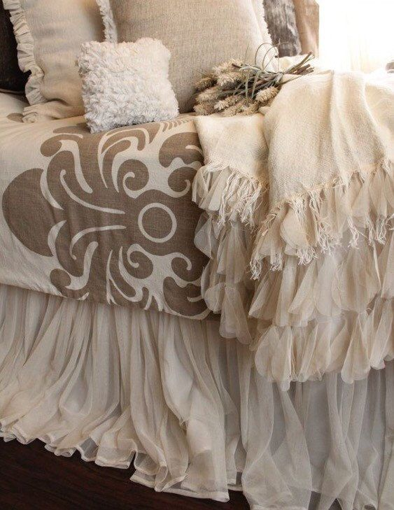Turn your bedroom into a romantic French country retreat with this whimsical bed skirt. It is made to order, so you can select the size, length, and color. To order TWIN ($100) or KING ($200) please scroll down to the variations drop-down menu and select the appropriate size. Please also let me know if you require two or three finished edges. Beds with a headboard AND footboard only need two finished edges. Beds with only a headboard and NO footboard will need three finished edges. Please…