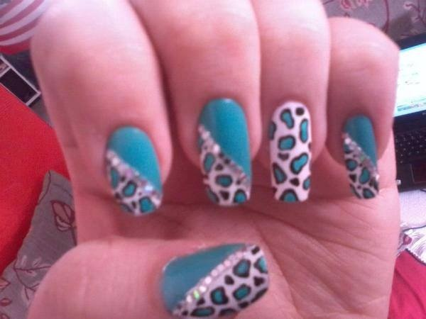 nails art unhas oncinha azul blue