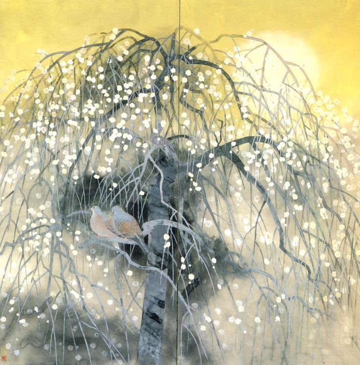 "Toshio MATSUO, né en 1926. (Peintre Nihonga) - "" Printemps Diffus "" 1989"