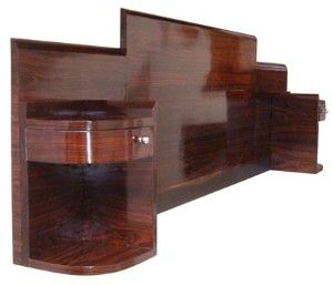 Streamlined French Art Deco King Size Headboard with attached floating nightstands, Pair In Macassar Ebony