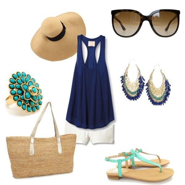 Beach Outfit, poolside or riverside. Love the cobalt and aqua blue matched with white and straw.