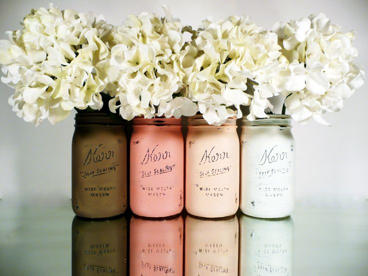 Blush and Mocha Ombre SPRING Wedding Decor - Painted and Distressed Mason Jars - Centerpiece - Vase / Home Decor. $28.00, via Etsy.