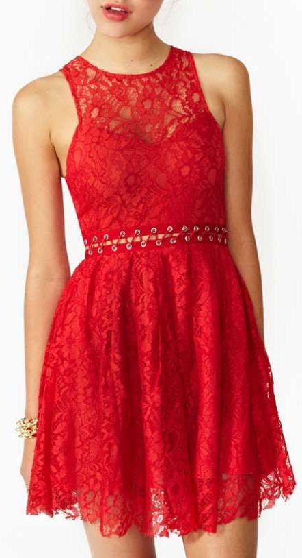 Lovely in Red Lace Dress ♡