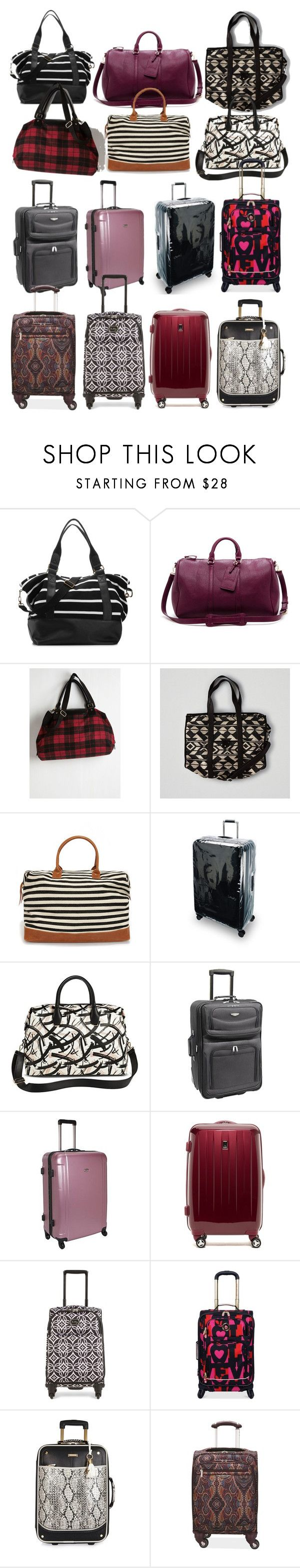 """""""Aria Montgomery inspired suitcases & weekender bags"""" by liarsstyle ❤ liked on Polyvore featuring Madden Girl, Sole Society, American Eagle Outfitters, LULUS, Ted Baker, DV, Traveler's Choice, Travelpro, Vera Bradley and River Island"""
