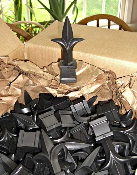 plastic finials from DecorativeIron.com