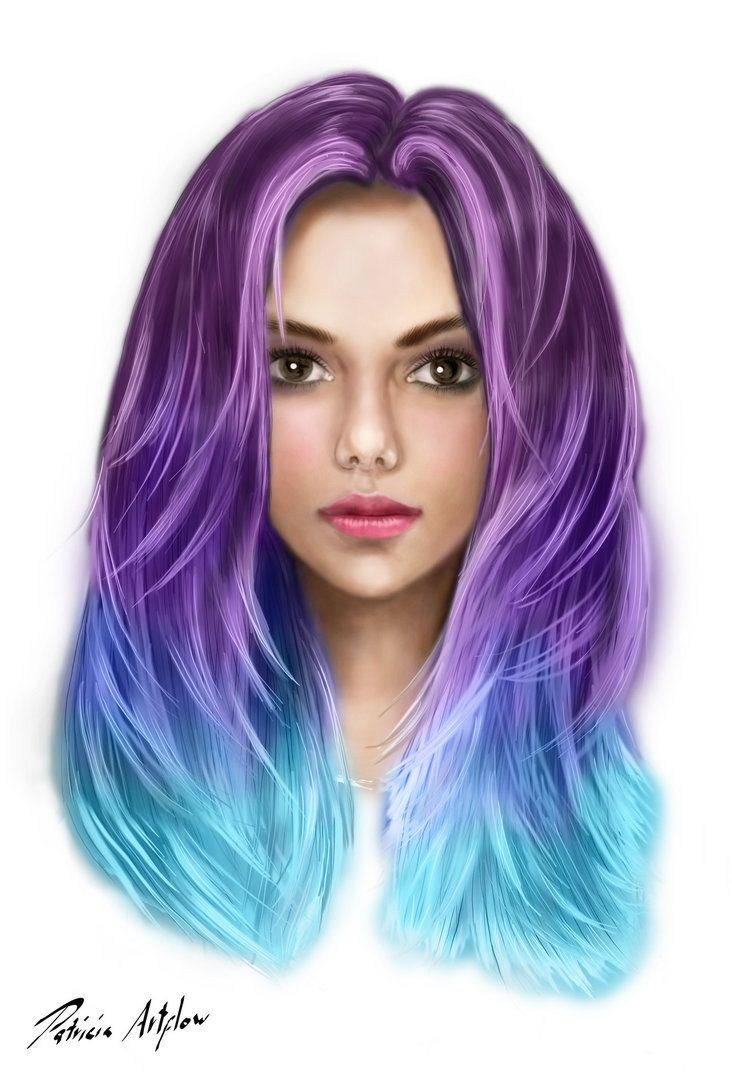 Digital art, painting of a beautiful youg woman with colorful hair