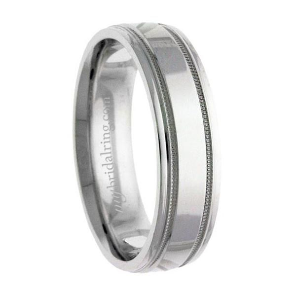 Td123864w 14k White Gold Double Milgrain 4mm Comfort Fit: 9 Best Men's 5mm Wedding Band 14k White Gold Images On