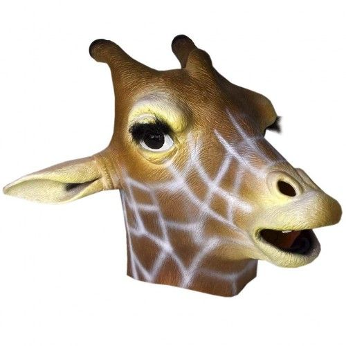 Giraffe Latex Animal Mask  Animal Mask - Giraffe (Latex)  Suitable for adults, one size fits most.  Theme : Christmas, Easter, School Plays or Birthdays, Animal Kingdom, Safari Critter Theme, Charity Events, Marathons, Wildlife.  Please note: Images are for display purposes only. Images may show other accessories and products that are not included. Items included are listed above. Other accessories shown may also be available.