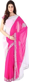 Beautiful pink and white designer saree on sale . Come join the gulaabee gang :)