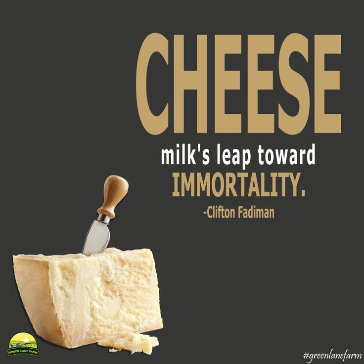"""Cheese - milk's leap toward immortality."" ~ Clifton Fadiman #greenlanefarm #quotes #immortality"