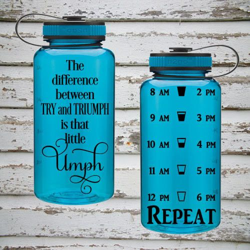 The Difference Between Try & Triumph Is That Little Umph 34oz Water Intake Tracker. Gym Water Bottle Personalized Water Bottle Reminders