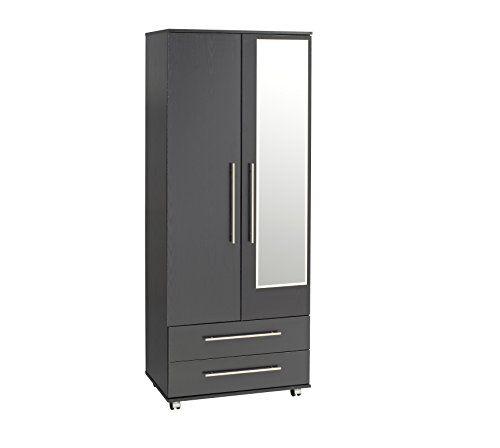 Ideal Furniture Bobby 2-Door Wardrobe Plus 2-Drawers Plus Mirror, Black
