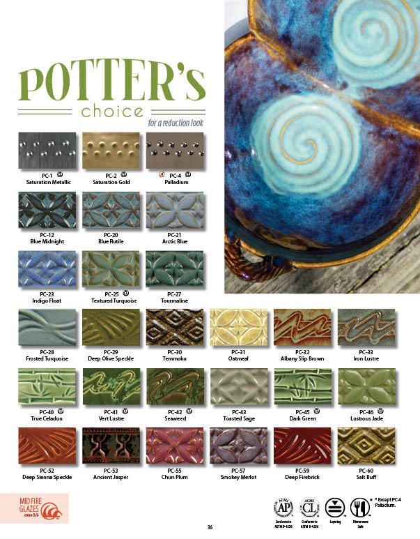 The Potter's Choice glaze series was designed with the potter in mind! These stunning glazes add fluid colors and effects to smooth or textured ware, with optimal results at Cone 5/6. To use these glazes is to step into different ceramic glaze traditions of many cultures throughout history. Check out our PC Layering charts to see all the amazing results you can try in your own studio!   •Reduction Effects in Oxidation  •Variety of Colors and Surfaces •Cone 5 / 6 •Limitless Layering…