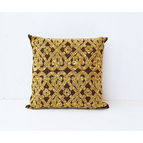 Brown throw pillows with bead sequin detail -Gold pillow -Silk pillows... (2,300 INR) via Polyvore featuring home, home decor, throw pillows, gold sequin throw pillow, brown accent pillows, beaded throw pillows, brown toss pillows and silk accent pillows