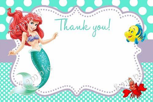 Little Mermaid Birthday Party Invitation Ariel FREE Thank You Card