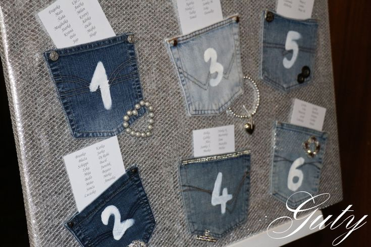 Guty výzdoba riflová modrá oslava jeans decor party zasadací poriadok zasadacia tabuľka