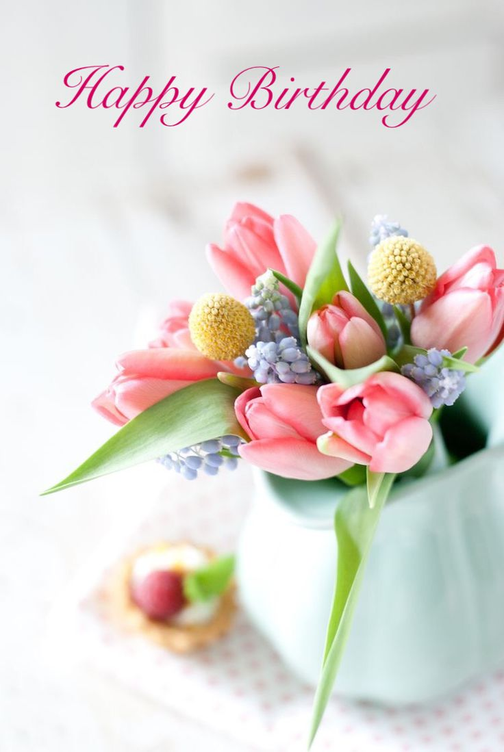 356 best geburtstag images on pinterest birthday stuff happy spring brings so many gorgeous flower options for your wedding day here is an arrangement of some of my favorites tulips pom poms and grape hyacinth izmirmasajfo