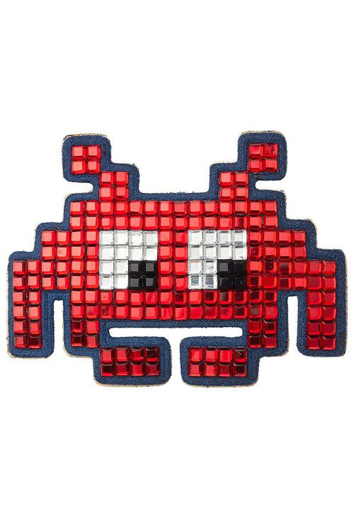 ANYA HINDMARCH Embellished Suede Mini Space Invaders Sticker. #anyahindmarch #