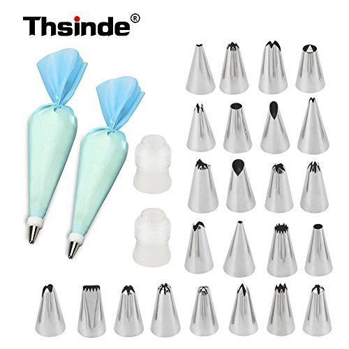 28-Pieces Cake Decorating Supplies,Thsinde Cake Decoration Tips with FREE x2 Reusable Silicone Icing Bag-x2 Coupler-28 Piece Baking Tools Supply