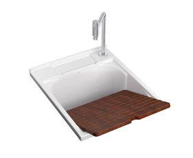 Cuba de multiuso de sobrepor com esfregador em madeira com capacidade total 45 litros. | Deca