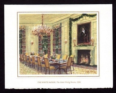 A Framed And Facsimile Signed 1998 White House Christmas Card The Depicts State Dining Room In That Has Been Decorated For