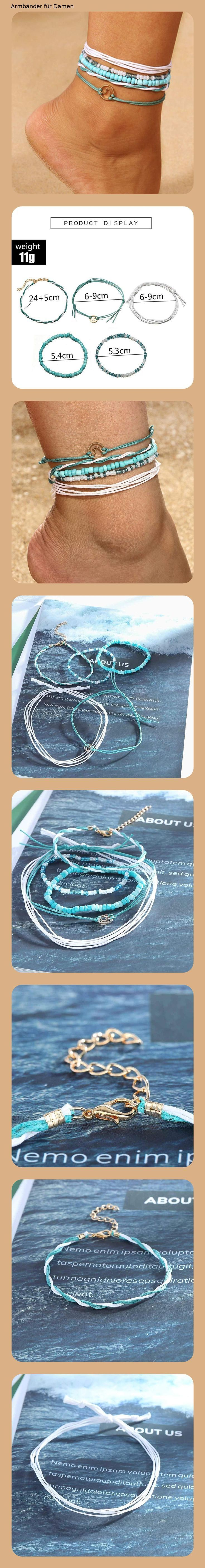 Simsly #Boho #Türkis #Fußkettchen #gewebt #Knöchel #Armband #Perlen #Fuß #Zubehör #Schmuck #f…