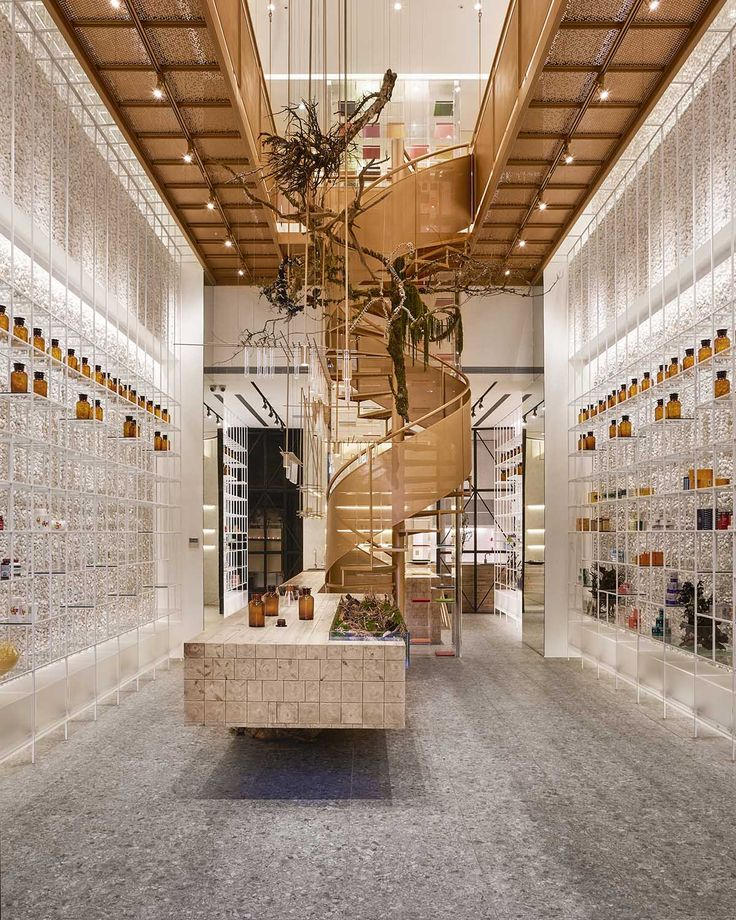 This pharmacy features varied spaces to experience different curing processes in artful environment