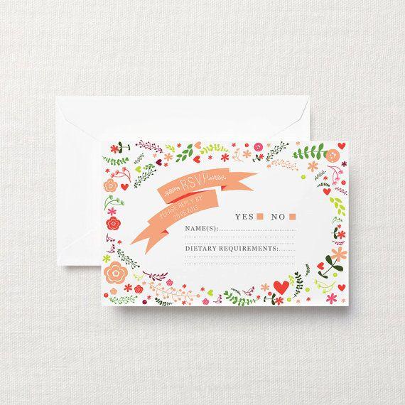 Whimsical printable wedding invitation calligraphy  by ZestAndLime, $39.95