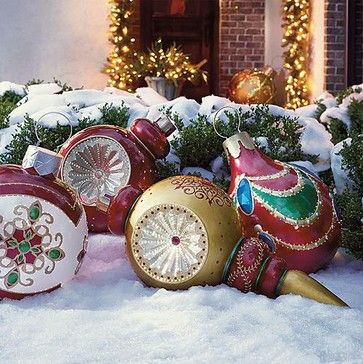 Giant Finial Reflector Fiber Optic Ornament   Outdoor Christmas Decorations    Traditional   Holiday Outdoor