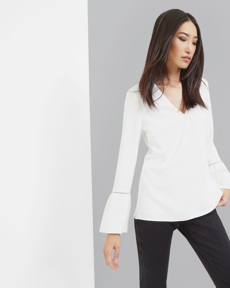 V-neck blouse - Ivory | Tops & Tees | Ted Baker