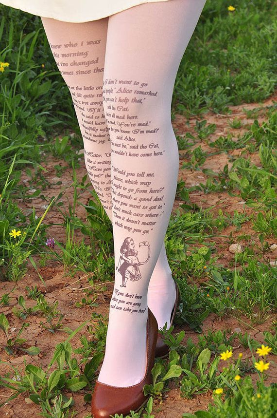 Alice in wonderland-Printed Text Tights Literature by TightsShop