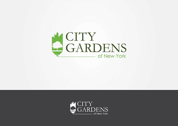 Minimal logo designed with negative space. city, gardens, skyline, pencil, trace, new york