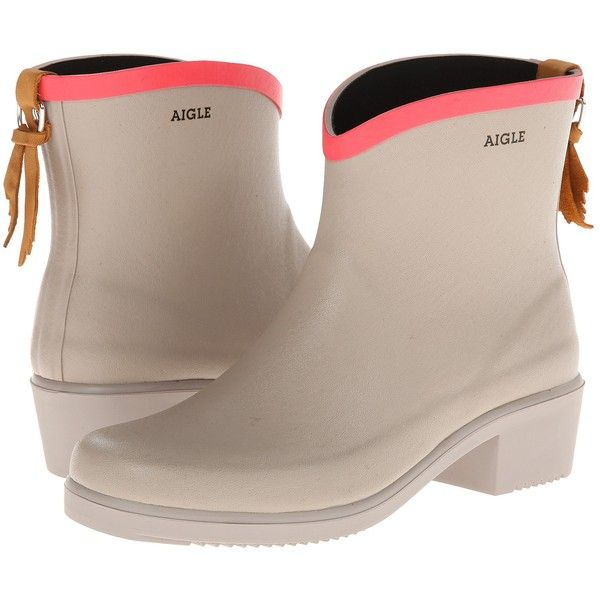 AIGLE Miss Juliette Bottillon Women's Boots, Beige ($91) ❤ liked on Polyvore featuring shoes, boots, ankle boots, beige, beige ankle boots, platform boots, wellington boots and special occasion shoes